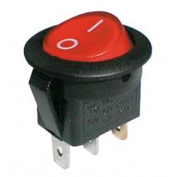 Prepínač kolískový guľ. pros. 2pol. 3pin ON-OFF 250V 6A červený