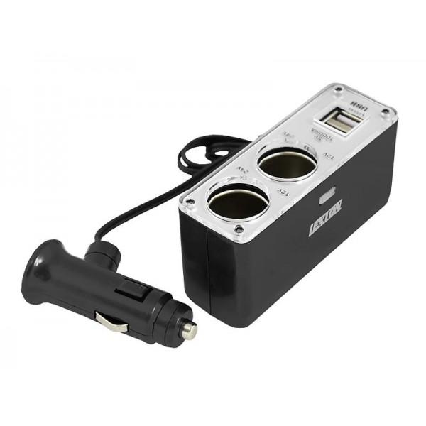 Autoadaptér 2x 12V, 2x USB