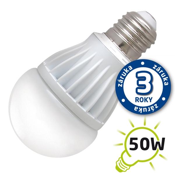 LED žiarovka A60, E27 230V, 7W - biela teplá (záruka 3 roky) (DVZLED)