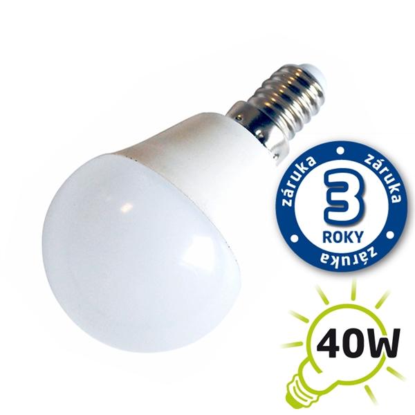 LED žiarovka G45 E14 230V 5W - biela teplá (záruka 3 roky) (DVZLED)