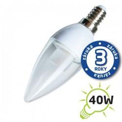 LED žiarovka C37 E14/230V 5W (Pc) - biela teplá, číra (sviečka) (záruka 3 roky)