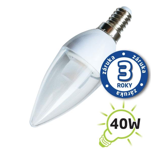 LED žiarovka C37 E14 / 230V 5W (Pc) - biela prírodná, číra (sviečka) (záruka 3 roky)