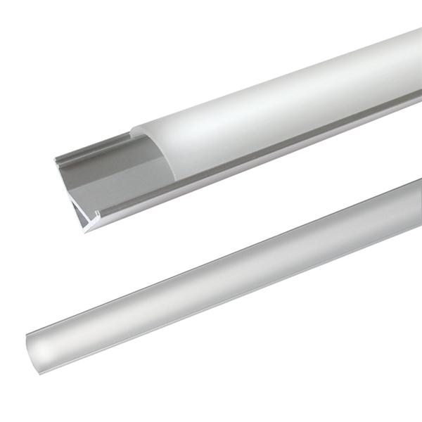 AL profil pre LED, AC2 + plexi rohový 16x16mm l=2m (zacvakávací zasúvací)