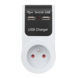 Adaptér USB 230V/5V (2xUSB priechodzí)