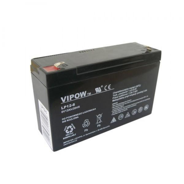 Batéria olovená 6V/12Ah VIPOW bezúdržbový akumulátor