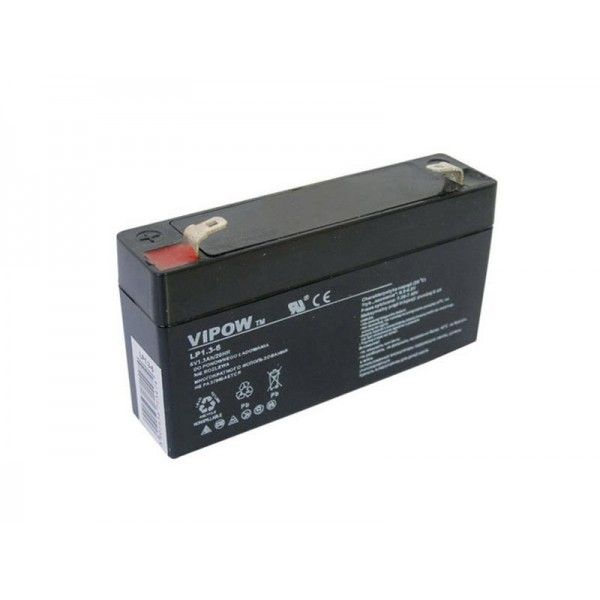 Batéria olovená 6V/1,3Ah VIPOW bezúdržbový akumulátor