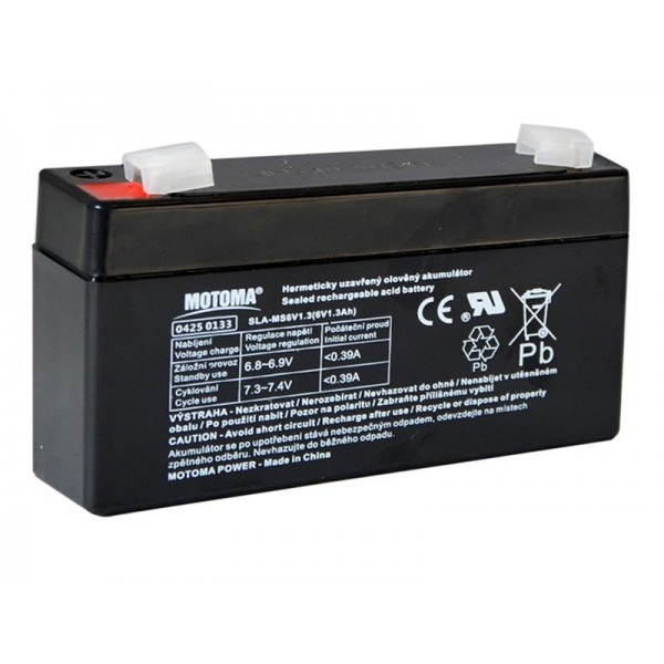 Batéria olovená 6V/ 1,3Ah MOTOMA bezúdržbový akumulátor