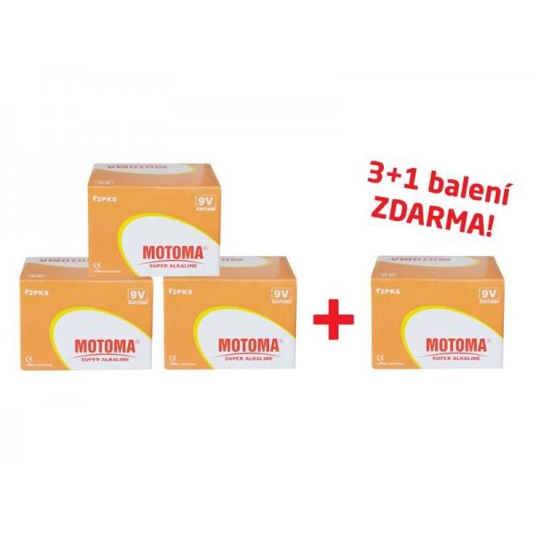 Balíček 3+1 Batéria 6F22 (9V) alkalická MOTOMA Ultra alkaline (4 krabice 04270219)