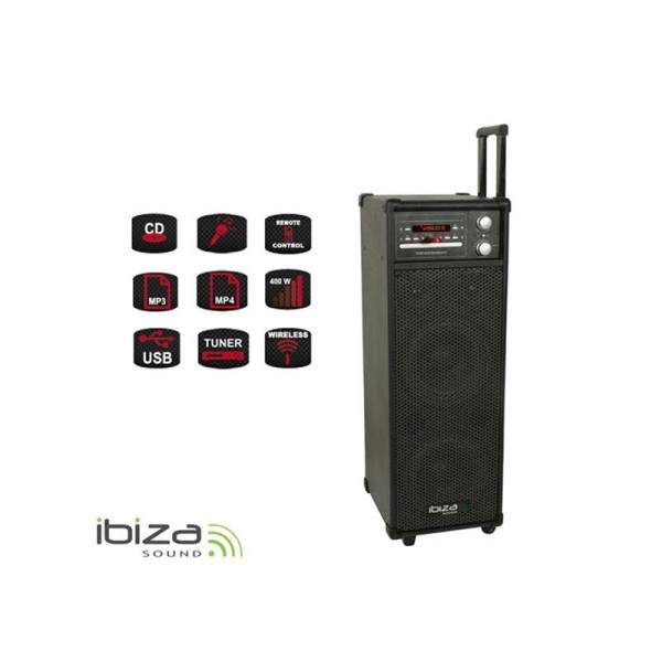 Rečnícky systém s karaoke IBIZA PORT8CD-VHF prenosný