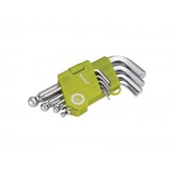 L-kľúče imbus krátke, sada 9ks, 1,5-2-2,5-3-4-5-6-8-10mm, s guľôčkou EXTOL CRAFT
