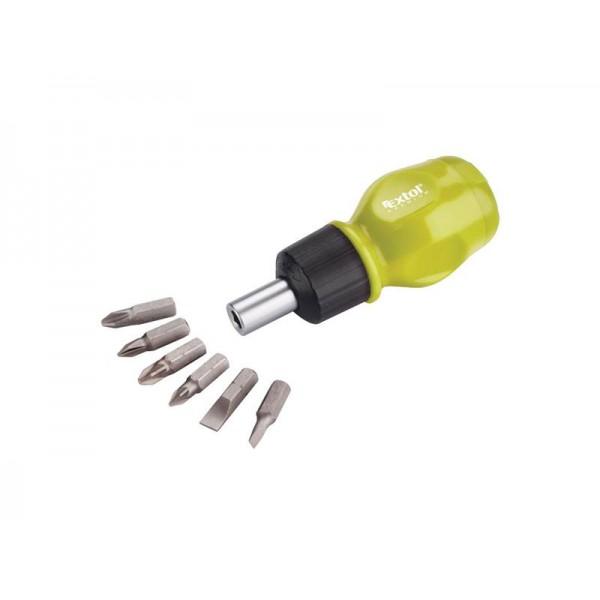 Skrutkovač račňový krátky 6v1, (-)4-6mm, PH1-2, PZ1-2, CrV EXTOL CRAFT