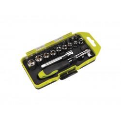 Skrutkovač račňový, nástrčné kľúče a hroty, sada 23ks, CrV EXTOL CRAFT