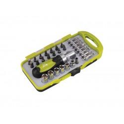 Skrutkovač račňový, nástrčné kľúče a bity, sada 30ks, CrV EXTOL CRAFT