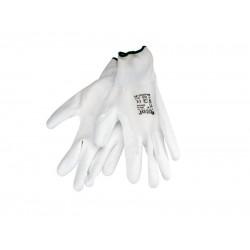 Rukavice z polyesteru polomáčané v PU, biele, 280mm, EXTOL PREMIUM