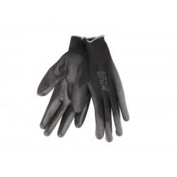 Rukavice z polyesteru polomáčané v PU, čierne, 230mm, EXTOL PREMIUM