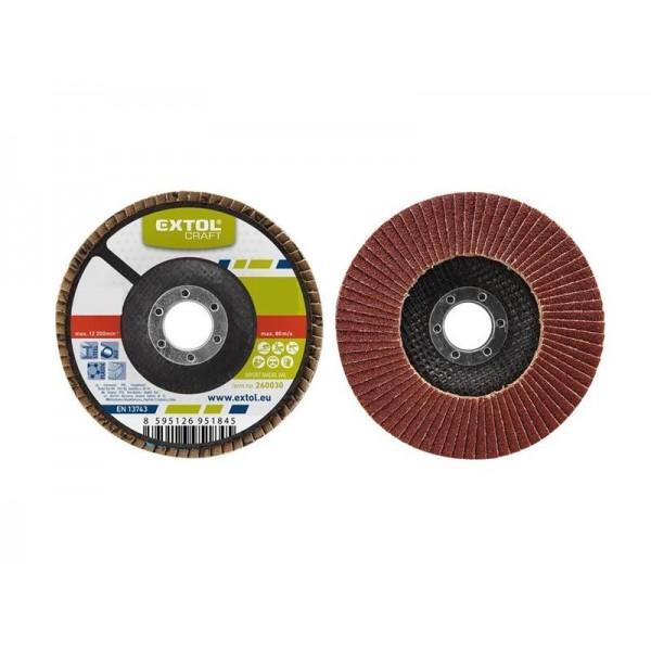 Kotúč lamelový šikmý korundový, P100, 115mm, KORUND, EXTOL CRAFT 260010