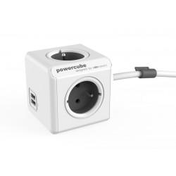 Zásuvka PowerCube EXTENDED USB s káblom 1,5m šedá