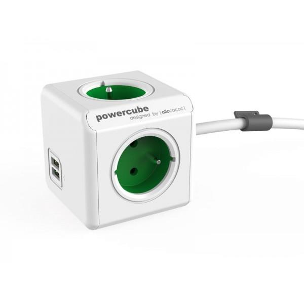 Zásuvka PowerCube EXTENDED USB s káblom 1.5m zelená