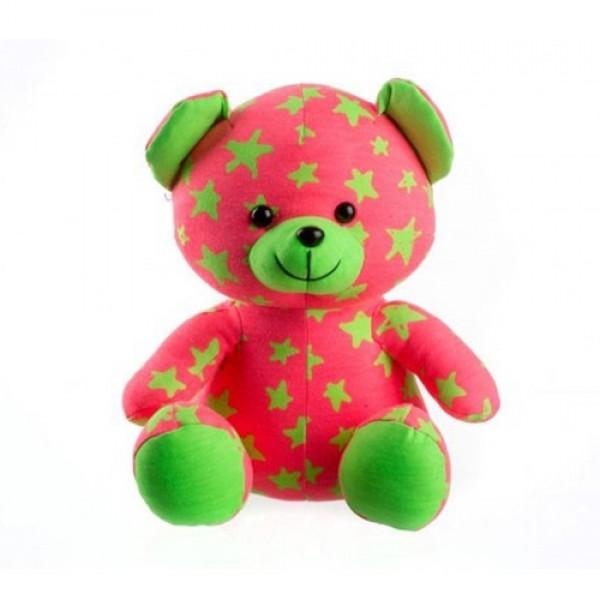Medvedík plyšový TEDDIES svietiací v tme ružový / zelený