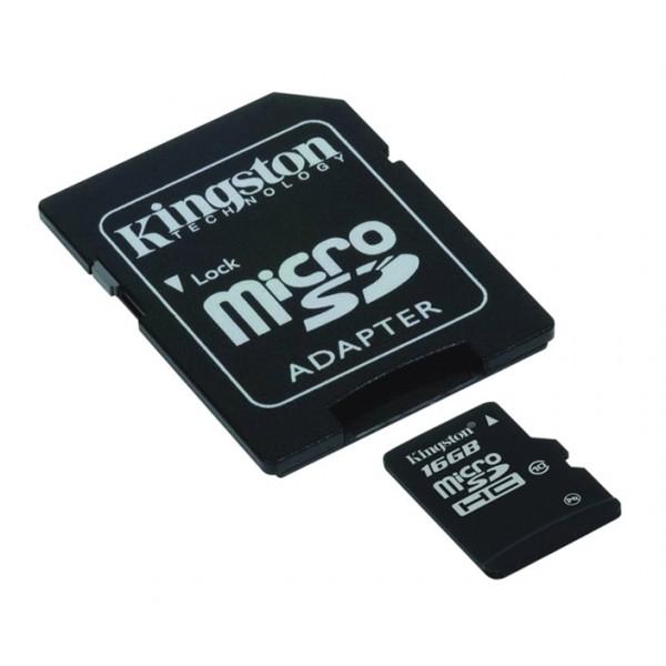 Karta pamäťová KINGSTON Micro SDHC 16GB Class 10 plus adaptér