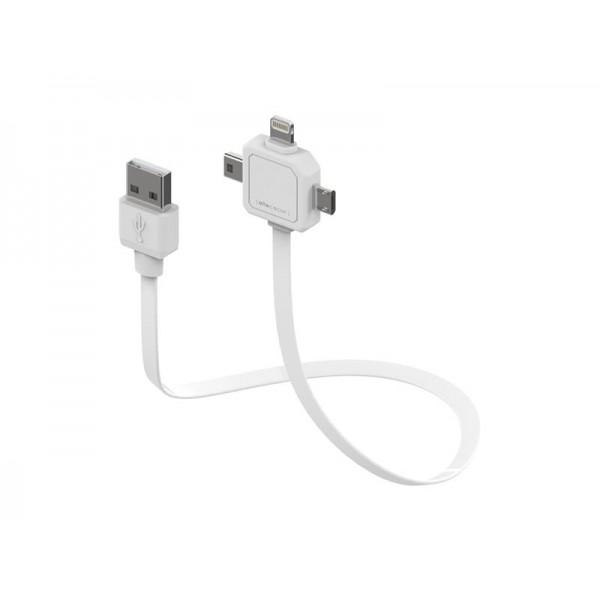 Kábel USB - Micro USB, Mini USB a Apple Lightning PowerCube 80cm