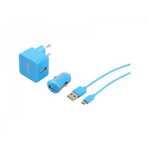 Nabíjačka SCO 516-000BK USB KIT 1M/WALL/CAR SENCOR
