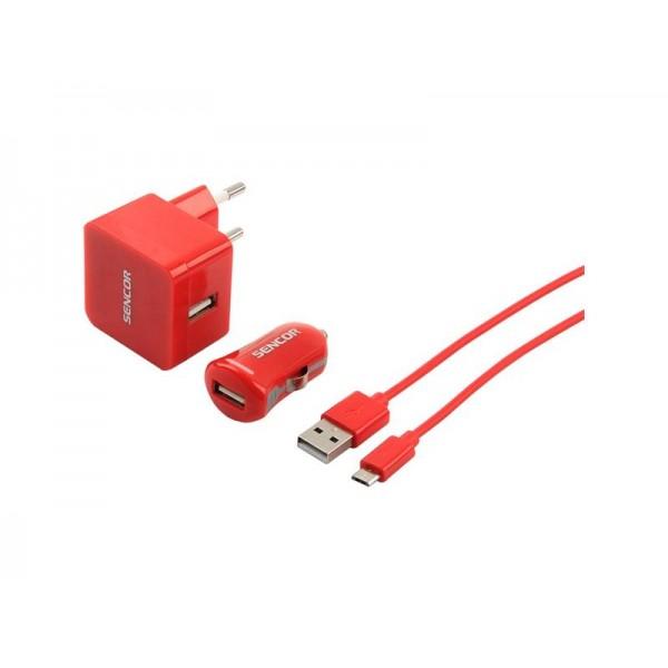 Nabíjačka SCO 516-000RD USB KIT 1M/WALL/CAR SENCOR
