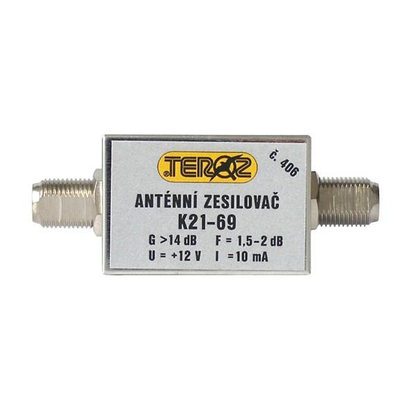 Antenný zosilňovač nízkošumový DVB-T 14dB F-F Teroz 406X